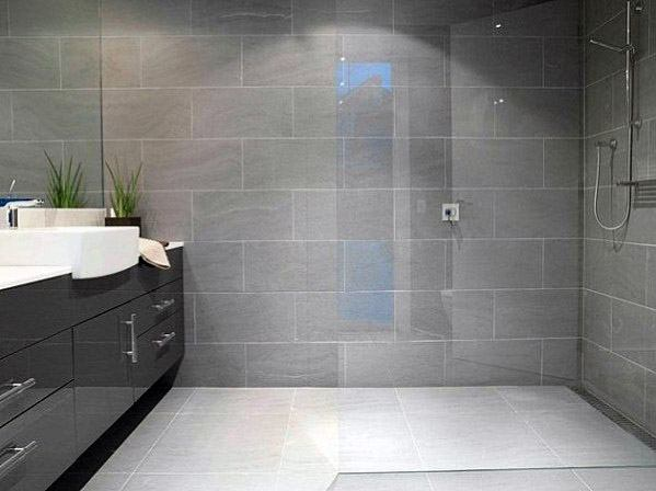 Grey Bathroom Wall Tile Ideas With Curbless Walk In Shower