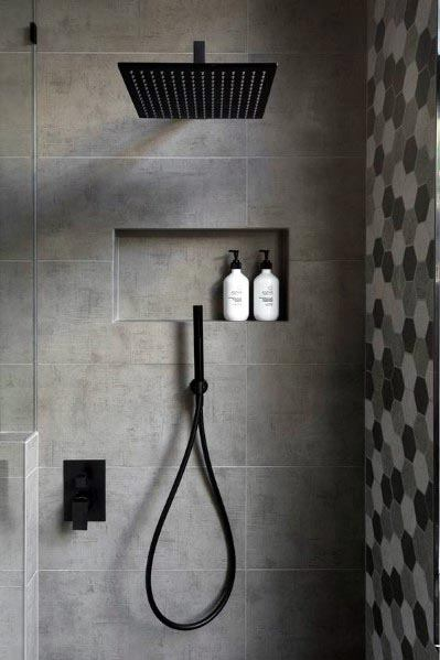 Grey Bathrooms Interior Ideas With Black Shower Faucet