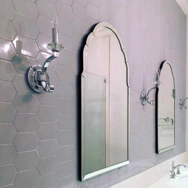 Grey Bathrooms With Ornate Mirrors On Walls
