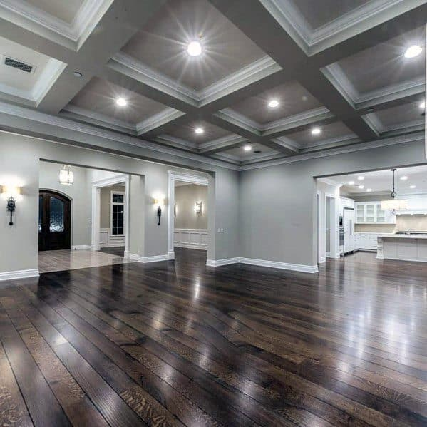 Grey Beam Coffered Ceiling Ideas With Grey Walls And Hardwood Flooring