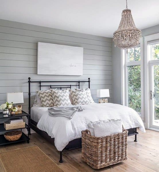 Grey Bedroom Accent Wall Shiplap Ideas