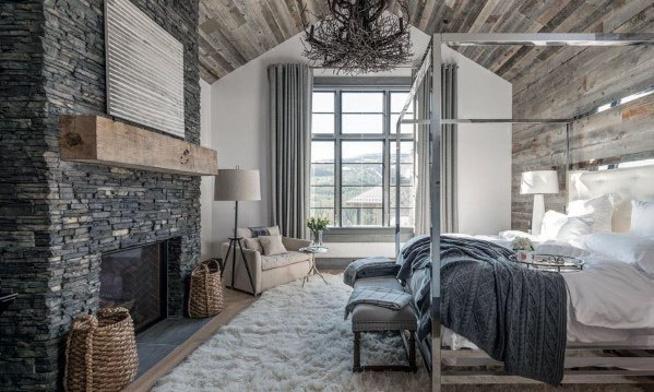 Grey Bedroom Rustic Stacked Stone Fireplace Design Ideas