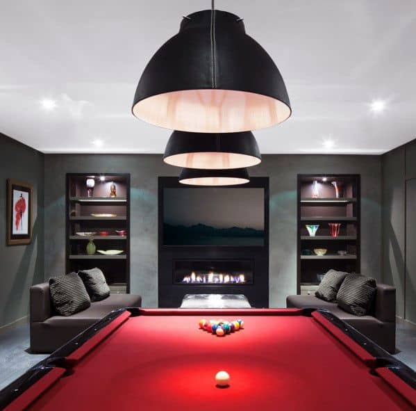 Grey Billiards Room Ideas With Red Pool Table And White Ceiling