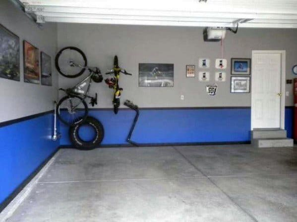 Grey Black And Blue Paint Design Ideas For Garage Wall