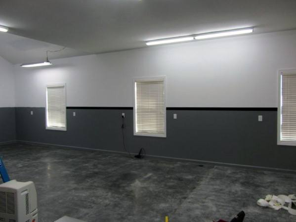 Grey Black And White Painted Garage Wall Idea Inspiration