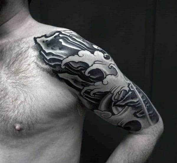Grey Black Japanese Sleeve Tattoo Males