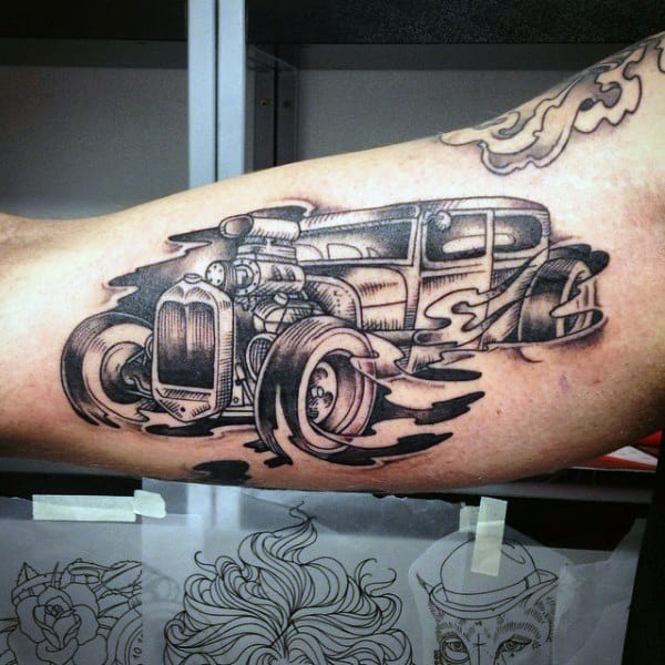 Grey Black Male Hot Rod Tattoo Forearms