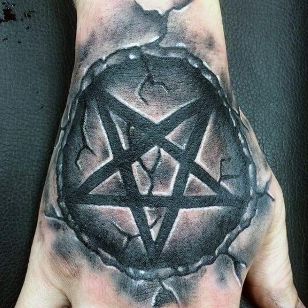 Grey Black Pentagram Tattoo Guys Hands