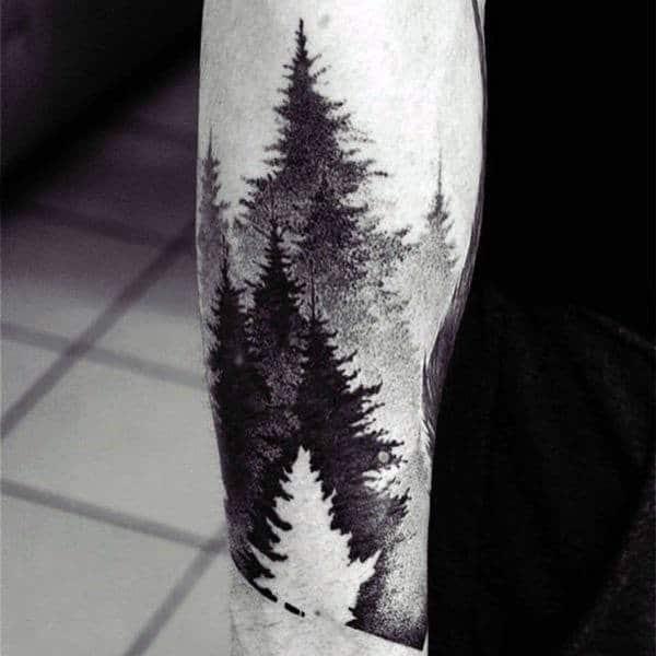 Grey Black Shaded Watercolor Tree Tatto Forearms