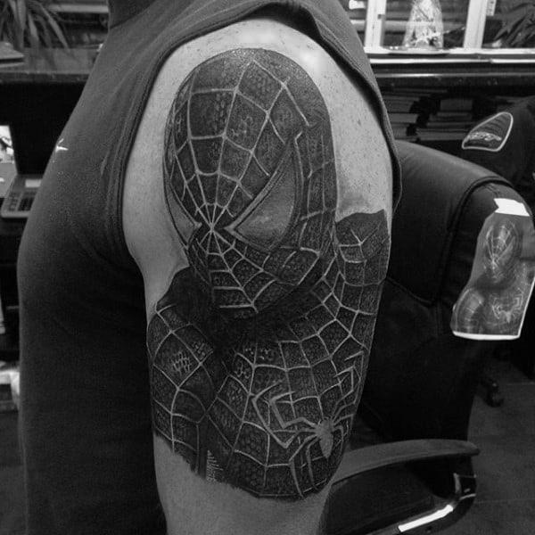 Grey Black Spiderman Tattoo Male Arms