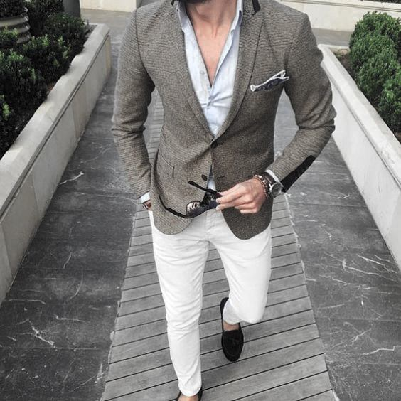 Grey Blazer And Dress Shirt What To Wear With Male White Jeans Outfits Styles