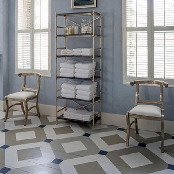 Grey Blue And White Hardwood Designs Painted Floor