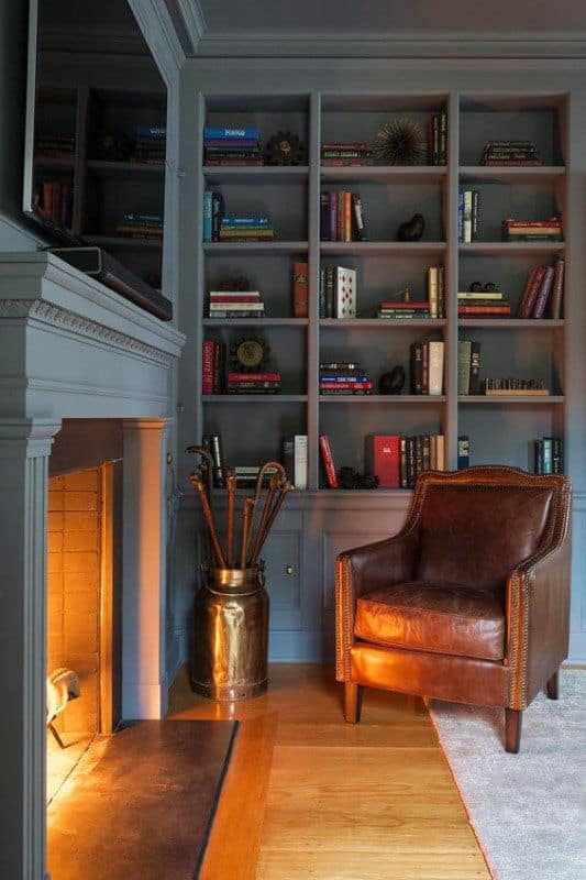 Grey Bookcases Home Library With Cool Fireplace