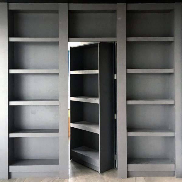 Grey Bookcases Luxury Hidden Door Ideas