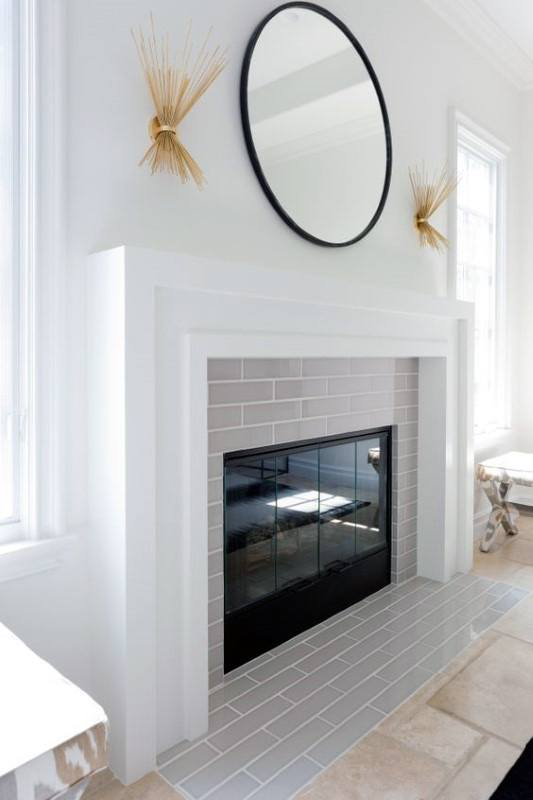 Grey Brick White Fireplace Mantel Design