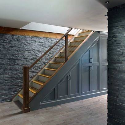 Grey Cabinets Basement Stairs Design Ideas