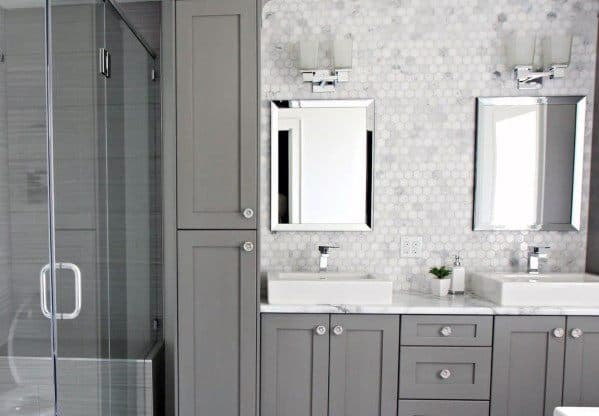 Grey Cabinets Nice Bathroom Backsplash Interior Ideas