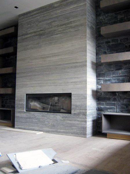 Grey Ceramic Fireplace Tile Ideas