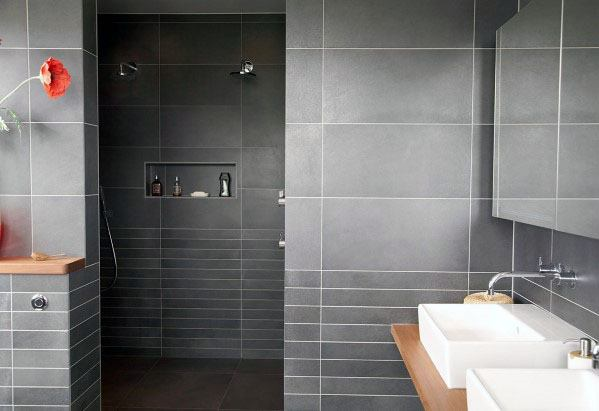 Grey Ceramic Tiles Bathroom Backsplash Wall Ideas