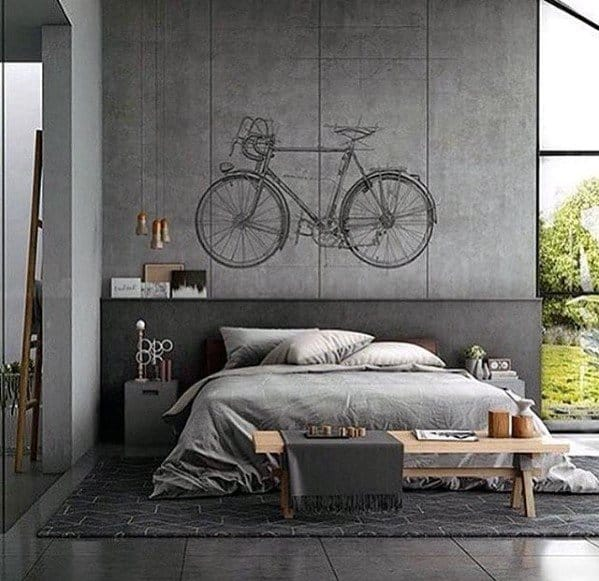 Grey Color Ultimate Bachelor Pad Bedrooms