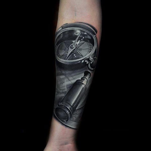 Grey Colored Compass Realism Tattoo Mens Forearms