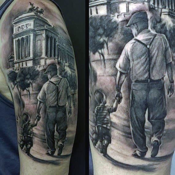 Grey Colored Father And Toddler Walking Toward Building Family Tattoo Male Upper Arms