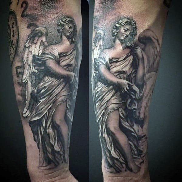 Grey Colored Guardian Angel Tattoo Guys Forearms