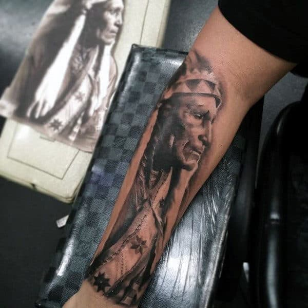 Grey Colored Native American Tribesman Tattoo Guys Forearms