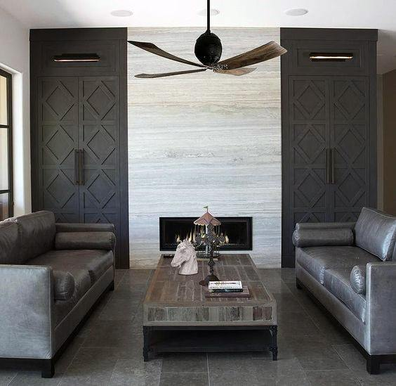 Grey Contemporary Built In Bookcases Living Room