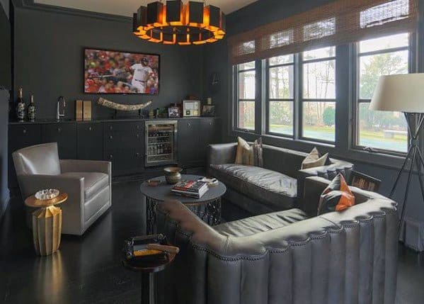 Grey Contemporary Cool Man Cave Design Ideas