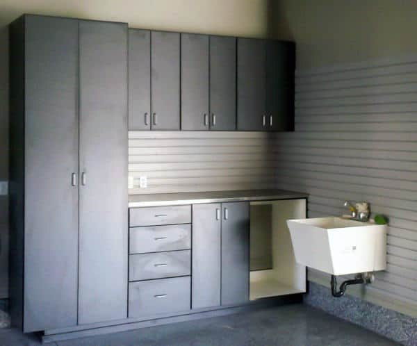 Grey Custom Garage Storage Cabinets With Sink