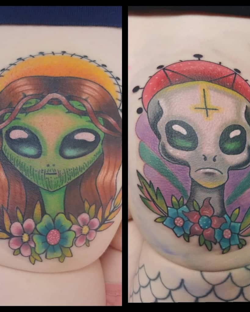 Grey Cute Funny Alien Butt Tattoo