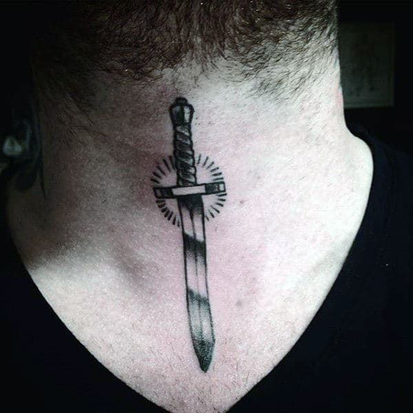 Grey Dagger Tattoo Male Neck