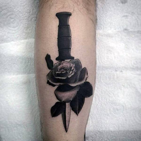 Grey Dagger Through Rose Tattoo Male Forearms
