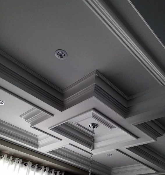 Grey Detailed Dining Room Coffered Ceiling Interior Design