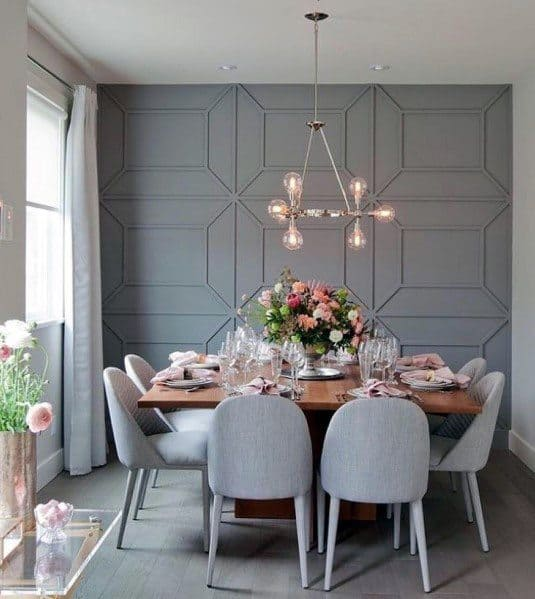Grey Dining Room Ideas For Textured Wall Interior