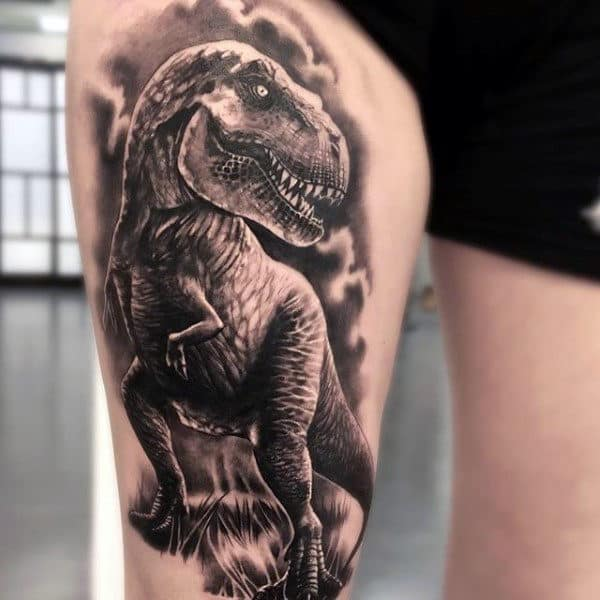 Grey Dinosaur Tattoo Male Thighs