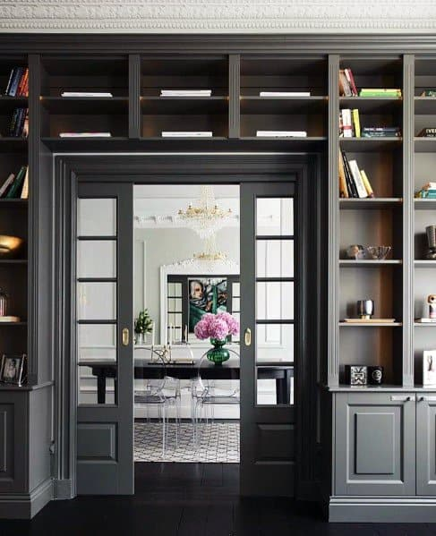 Grey Doorway Exceptional Built In Bookcase Ideas