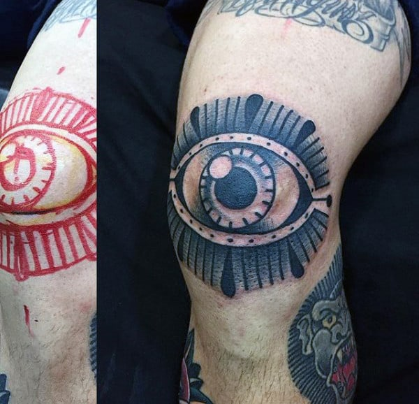 Grey Dotted And Lined Eye Design Tattoo Mens Knees