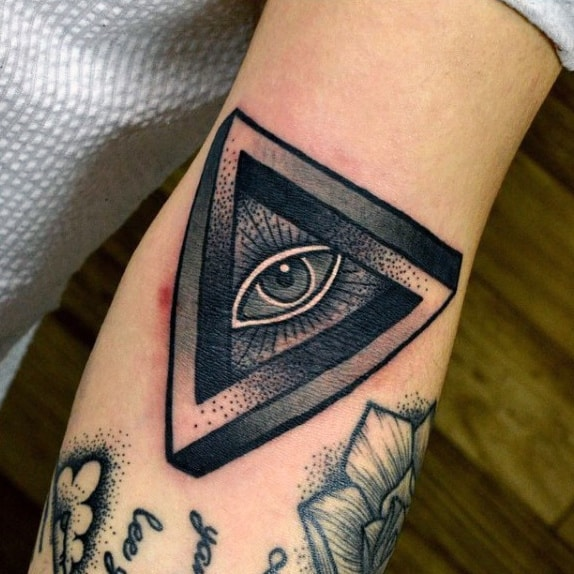 Grey Dotted Design Illuminati Tattoo Male Forearms