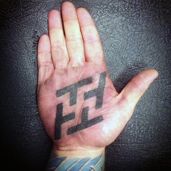 Grey Dotted Design Tattoo Male Palm