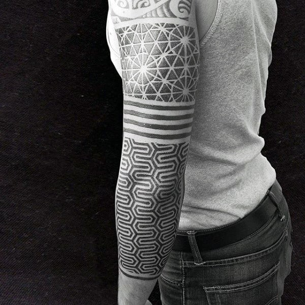 Grey Dotted Pattern Tattoo Male Full Sleeves