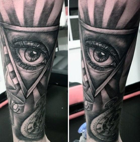 Grey Eye Illuminati Tattoo Male Forearms