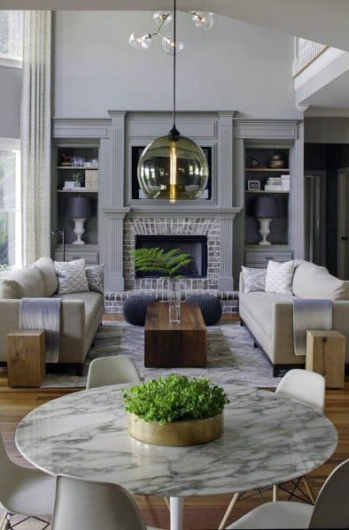 Grey Fireplace Living Room Good Ideas For Built In Bookcase