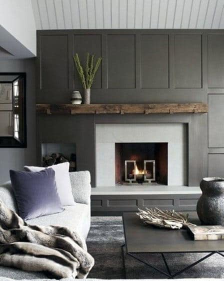 Grey Fireplace Rustic Great Room Ideas
