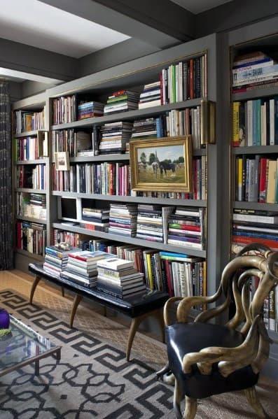 Grey Floor To Ceiling Bookshelves Design Idea Inspiration
