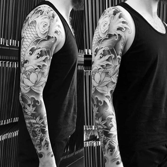 Japanese Style Sleeve Tattoo Flowers Koi Samurai: 120 Japanese Sleeve Tattoos For Men
