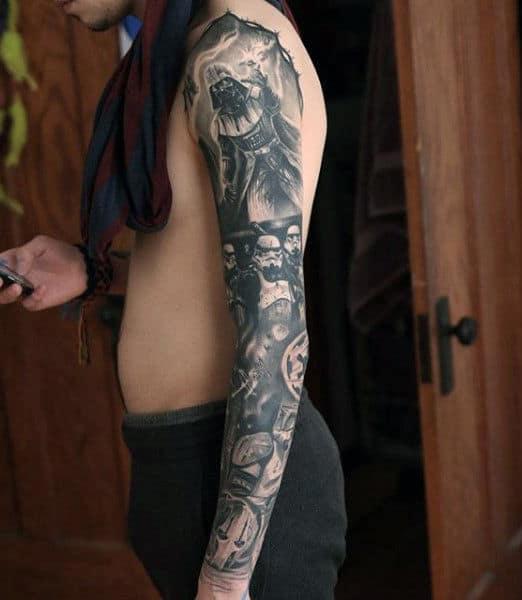 Grey Full Sleeved Nice Darth Varder Tattoo