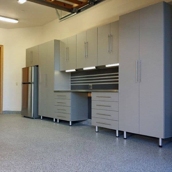 Grey Garage Storage Cabinet With Lighting And Fridge