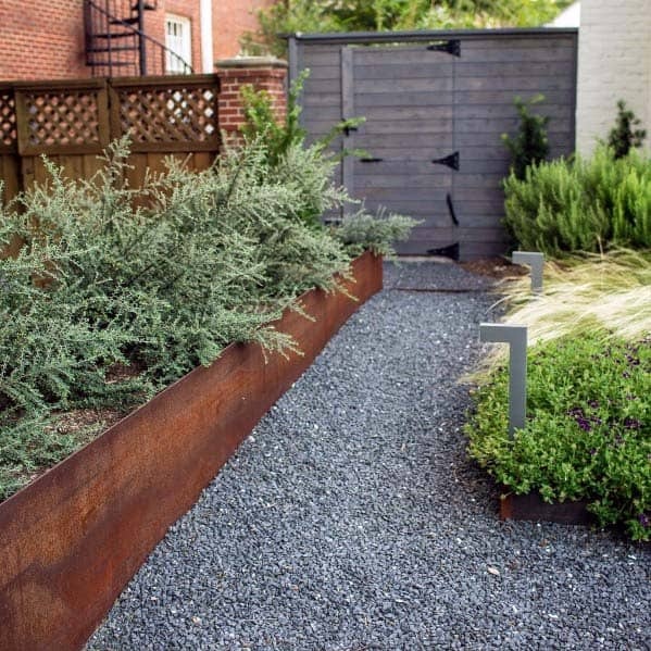 Grey Gravel Rock Walkway Ideas Contemporary Landscape